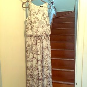 Chaps Gray Floral Long Dress-never worn